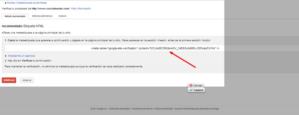 Herramientas para webmasters de Google Demostrar la propiedad del sitio