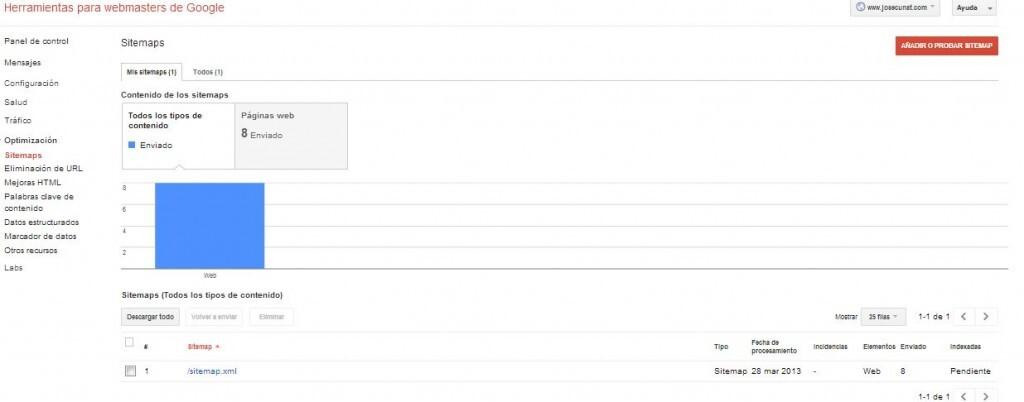 Herramientas para webmasters de Google sitemap
