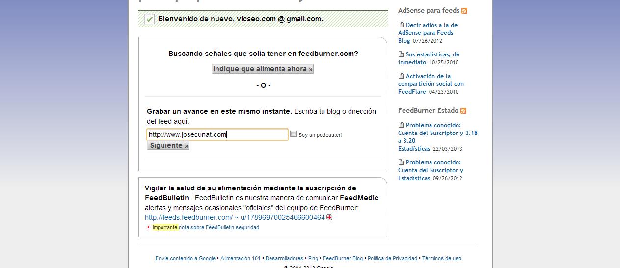 Configurar FeedBurner, da la posibilidad a tus lectores de suscribirse al blog