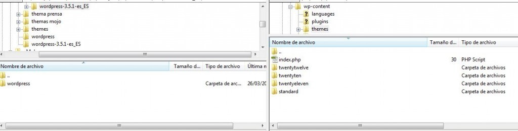 subir plantilla wordpress por ftp