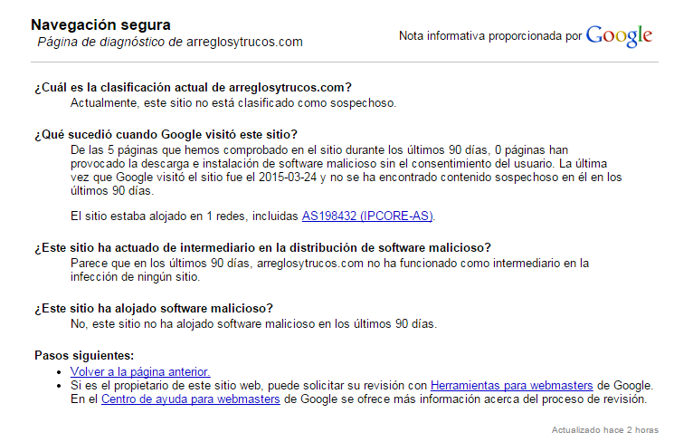 Página de diagnóstico de Navegación segura de Google de arreglosytrucos.com