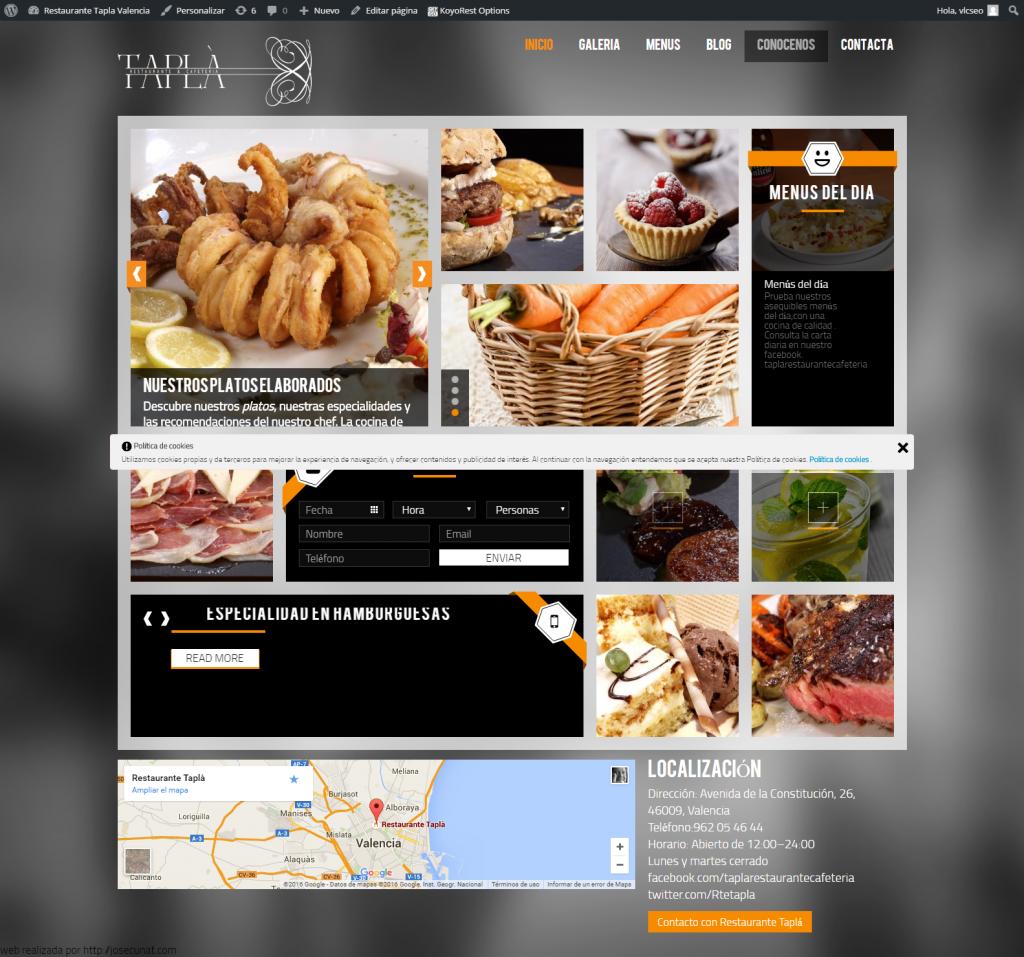 Restaurante Tapla Valencia Webs para restaurantes